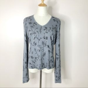 INC l Sweater Gray Floral V-Neck Ribbed Pullover L